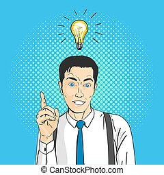 Vector illustration of pop art comic happy smiling businessman. Light bulb over the head. Concept of creating new ideas or thoughts.