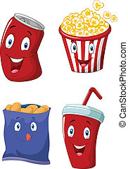 vector illustration of Popcorn, soft drink, french fries and potato chips