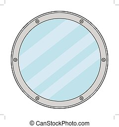 vector illustration of porthole, detail of yacht