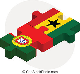 Portuguese and Ghanaian Flags in puzzle isolated on white backgr