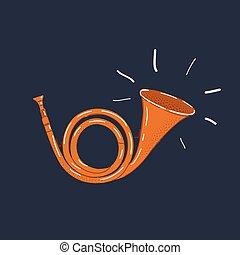 Vector illustration of Post horn on dark background.