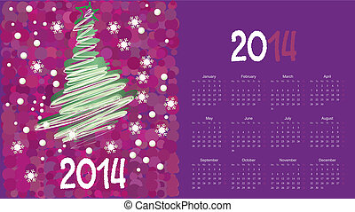 calendar to a new 2014 year