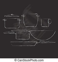 vector illustration of pots pans and wok on chalkboard