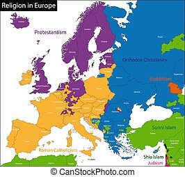 Vector illustration of Predominant religious in Europe - ...