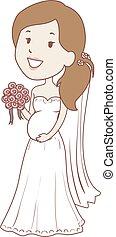 Pregnant Bride holding flower Bouquet