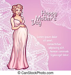 Vector illustration of pregnant woman in pink dress