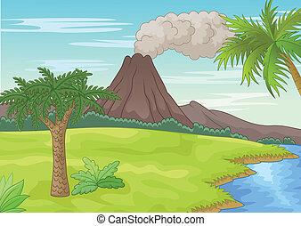 Prehistoric landscape - vector illustration of Prehistoric ...
