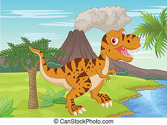 Prehistoric scene with tyrannosauru - vector illustration of...