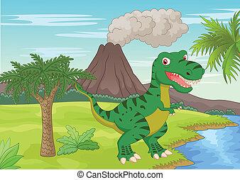 Prehistoric scene with tyrannosauru