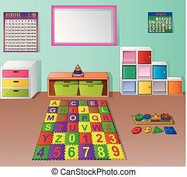Preschool kindergarten classroom cartoon