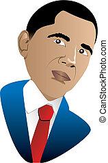 President Barack Obama - Vector Illustration of President...