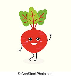 Vector illustration of pretty cartoon beet isolated on white background