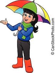 Pretty girl in rain with umbrella