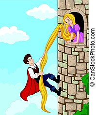 Prince climbing tower using long hair - Vector illustration...