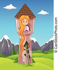 Vector illustration of Princess with long hair waiting on the isolated tower