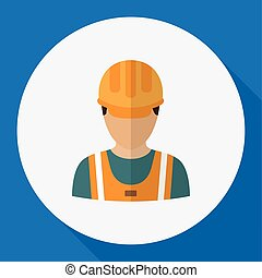 Vector Illustration Of Profession Symbol On Worker Flat Icon. Premium Quality Isolated Laborer Element In Trendy Flat Style.