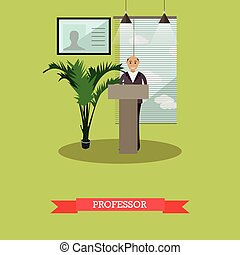 Vector illustration of professor cartoon character in flat style