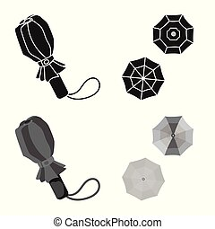 Vector illustration of protection and closed logo. Collection of protection and rainy stock vector illustration.