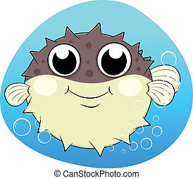 Puffer fish With Bubles - Vector Illustration Of Puffer fish...