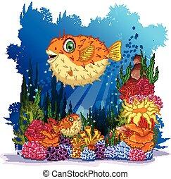 puffer fish with sea life backgroun