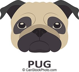 Vector illustration of pug in flat style.
