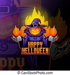 Pumpkin head in a witch's hat