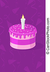 Vector illustration of purple cake