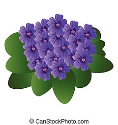 Vector illustration of purple violet flowers with green leafs on white background.