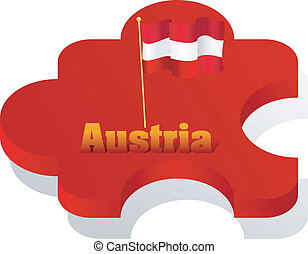Vector illustration of puzzle with a flag of Austria