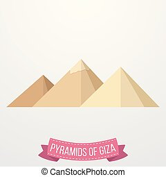 Pyramids Giza icon on white background - Vector illustration...