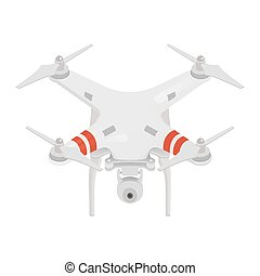 Vector illustration of quadrocopter or drone isolated on white background.