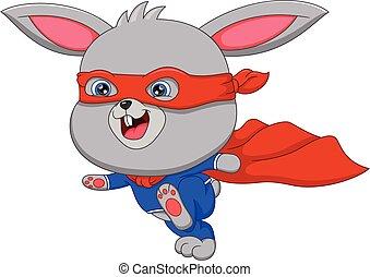 rabbit cartoon in super hero costume