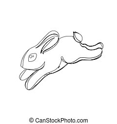 rabbit in continious line graphic style