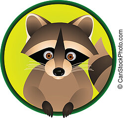 Raccoon Cartoon - Vector Illustration Of Raccoon Cartoon