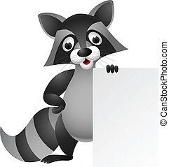 Raccoon cartoon with blank sign