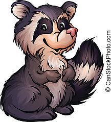 Vector illustration of raccoon in cartoon style on...