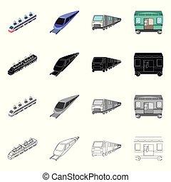 Vector illustration of railroad and train icon. Collection of railroad and way stock vector illustration.