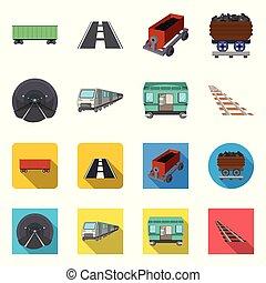 Vector illustration of railroad and train logo. Collection of railroad and way vector icon for stock.