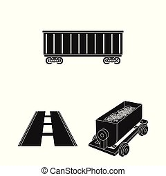 Vector illustration of railroad and train sign. Set of railroad and way stock symbol for web.