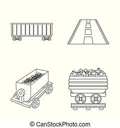 Vector illustration of railroad and train symbol. Collection of railroad and way stock symbol for web.