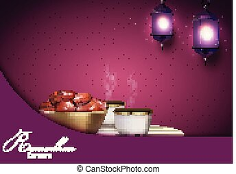 Ramadan Kareem background. Iftar party with traditional coffee cup, bowl of dates and lanterns hanging in a purple glowing background