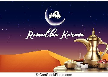 Ramadan Kareem background. Iftar party with traditional coffee pot, dried dates on wooden table