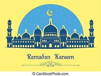 Ramadan kareem background with mosque on yellow background