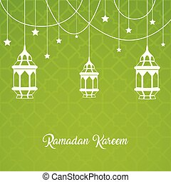 Ramadan kareem greeting card with Lantern hanging