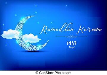 Ramadan Kareem Greetings Card - Vector illustration of...