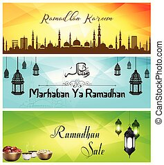 Ramadan Kareem sale banner with Mosque