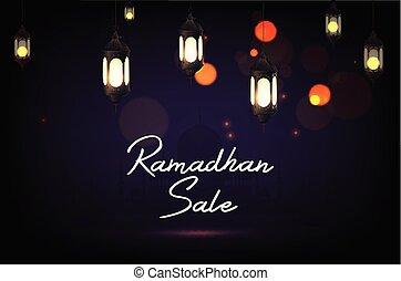 Ramadan Kareem sale with hanging lantern