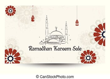 Ramadan Kareem sale with lines Mosque