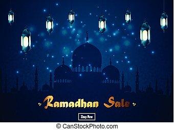Ramadan Kareem sale with mosque and lantern