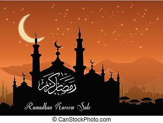 Ramadan Kareem sale with Mosque silhouette at night background